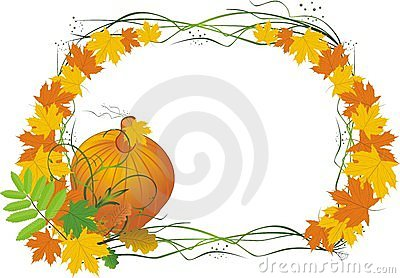 Leaves and pumpkin. Autumn composition for card