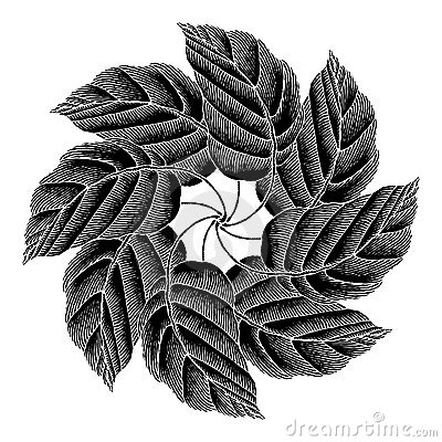 Leaves rosette black original woodcut