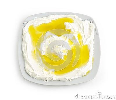 Lebanese food of Labneh Yogurt cheese