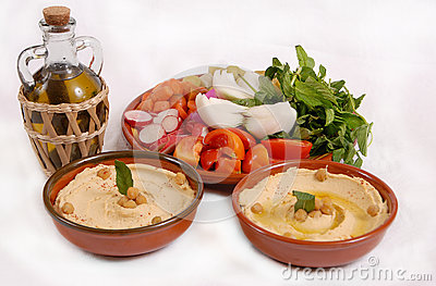 Lebanese hummus plate with olive & vegetables