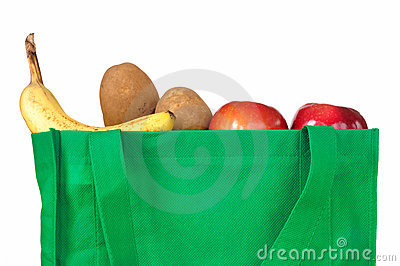 Lebensmittelgeschäfte im mehrfachverwendbaren grünen Beutel