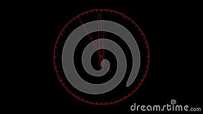 Lebhafte Borduhr Zuletzt 10 Sekunden zu 12 Uhr vektor abbildung