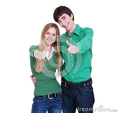 Lebhafte Paare, die sich Daumen zeigen