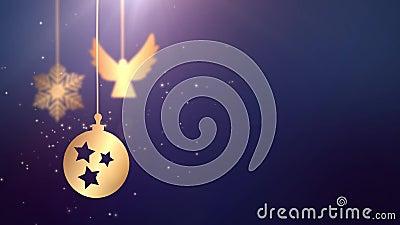 Lebhafter beweglicher Flitterball, der unten Placeholder-Blauhintergrund feier des Weihnachtsneuen Jahres festlicher Saisonfällt stock footage
