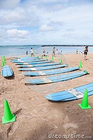 Lecciones de la resaca de Waikiki Foto editorial