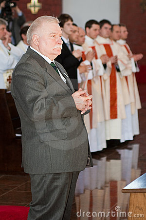 Lech Walesa in church Editorial Photo