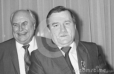 Lech Walesa and Norman Willis Editorial Stock Image
