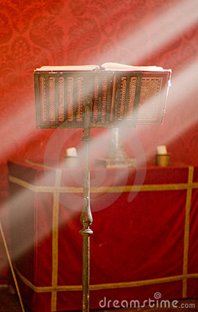Lectern in altar with a holy bible.