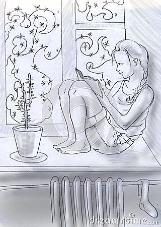 Lectura cerca de la ventana del invierno