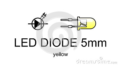 Led diode icon and symbol, yellow