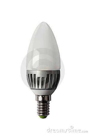LED energy safing bulb. C37 E14. Isolated object