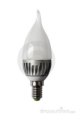 LED energy safing bulb. CA37 E14. Isolated object