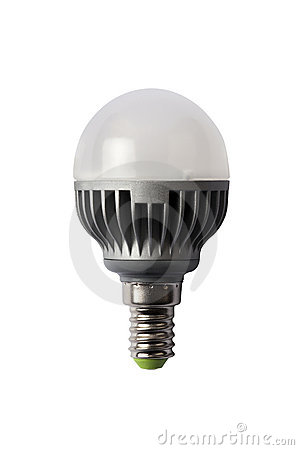 LED energy safing bulb. G45 E14. Isolated object