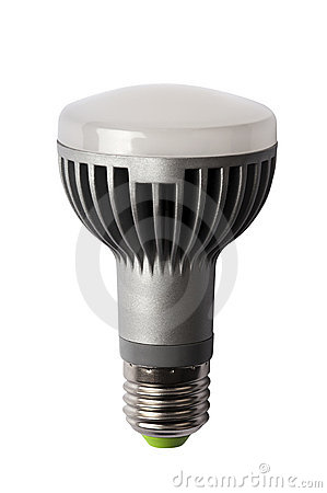 LED energy safing bulb. R63 E27. Isolated object