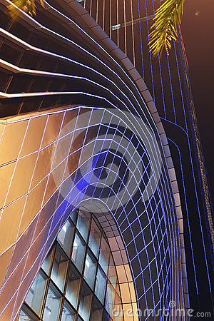 Led Night Lighting Of Commercial Building Curtain Wall Stock Photo ...