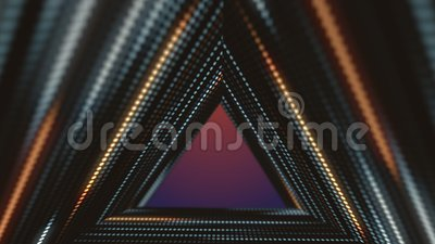 LED screens, triangles tunnel, fashion events background 3d animation 4k.  royalty free illustration