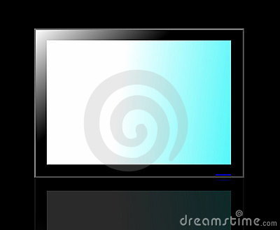 LED TV screen isolated on black