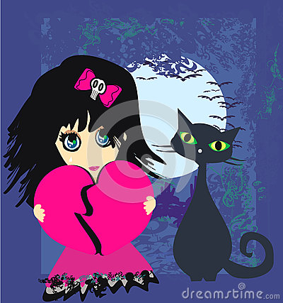 Ledsen emoflicka och hennes katt.