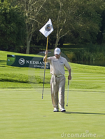 Lee Westwood Removing the 18th Flag Editorial Image