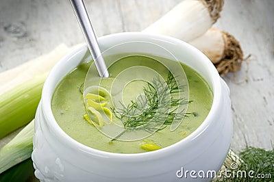 Leek soupe on bowl