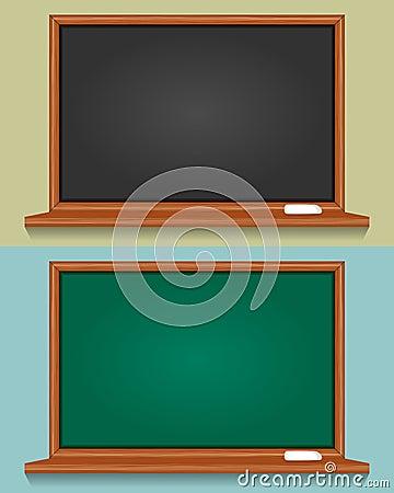 Leere schwarze und grüne Tafel