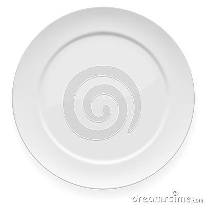 Leerer weißer großer Teller