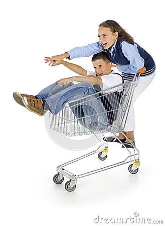 Leerlingen met karretje