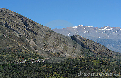 Lefka Ori montains and village  in Crete
