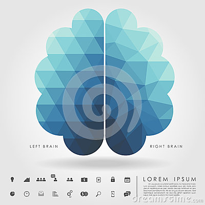 Free Left And Right Brain On Concept Pattern And Free Form Geometry Stock Photos - 42447873