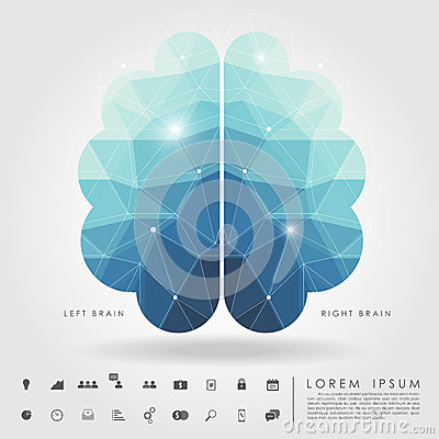 Free Left And Right Brain Polygon With Business Icon Royalty Free Stock Images - 42067949