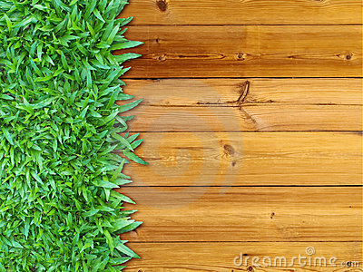 Left Green Grass on Wood