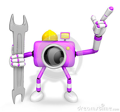 The left hand Holding a Spanner Engineer Purple Camera Character