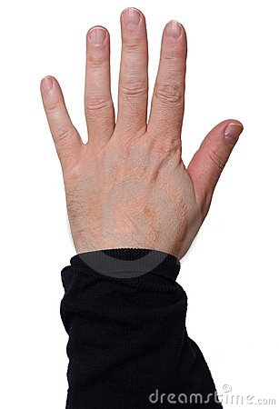 Left hand showing five fingers