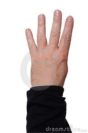 Left hand showing four fingers
