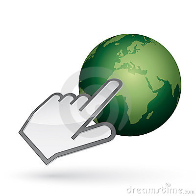 Left-handed cursor on green earth