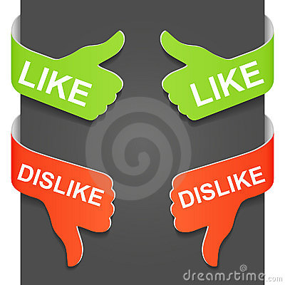 Left and right side sign - LIKE and DISLIKE
