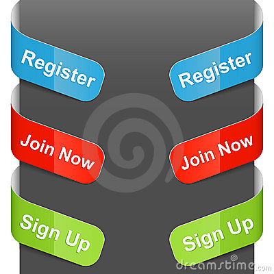Left and right side signs - Register, Join now