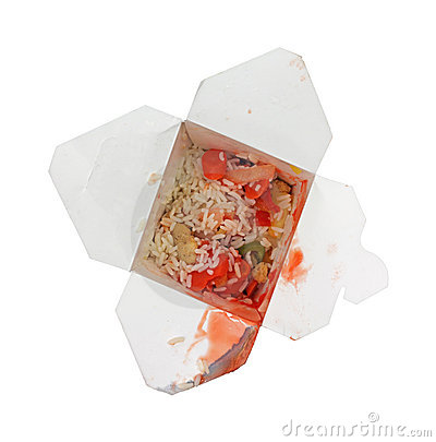 Leftover sweet sour chicken in box