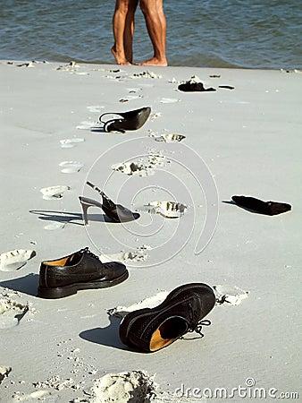 Leg couple on the beach
