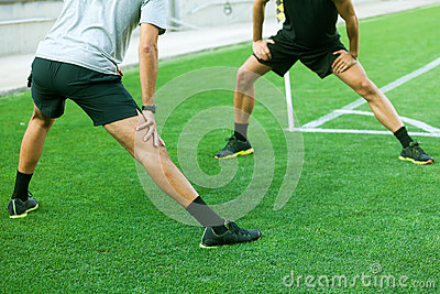 leg extension on grass stock images  image 35873094