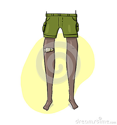 Leg with Medical adhesive plaster Illustration