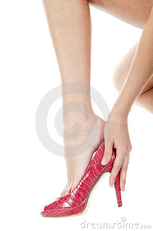 Leg and red shoe | Isolated