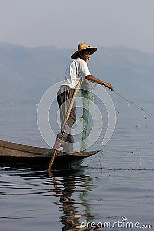 Leg-rowing fisherman at Inle Lake, Myanmar Editorial Stock Image