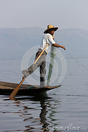 Leg-rowing fisherman at Inle Lake, Myanmar Editorial Photography