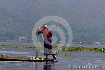 Leg-rowing fisherman at Inle Lake, Myanmar Editorial Stock Photo