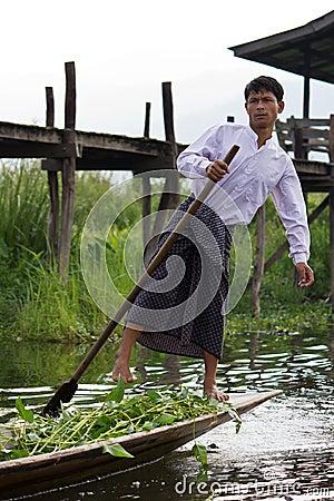 Leg-rowing fisherman at Inle Lake, Myanmar Editorial Photography