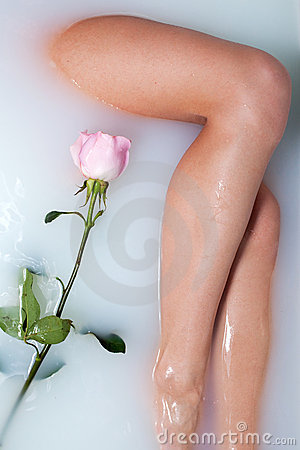 Leg of woman and rose