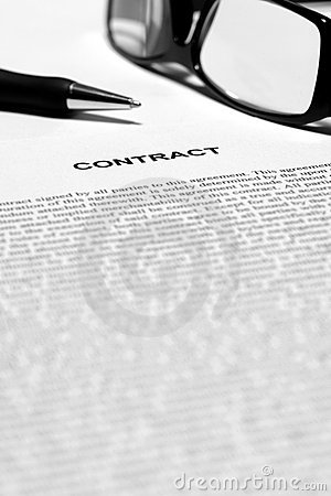 Legal Contract in English with Ink Pen and Glasses