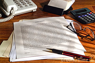 Legal Contract in English on Law Firm Lawyer Desk
