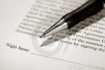 Legal Contract Ready to be Signed with Ink Pen